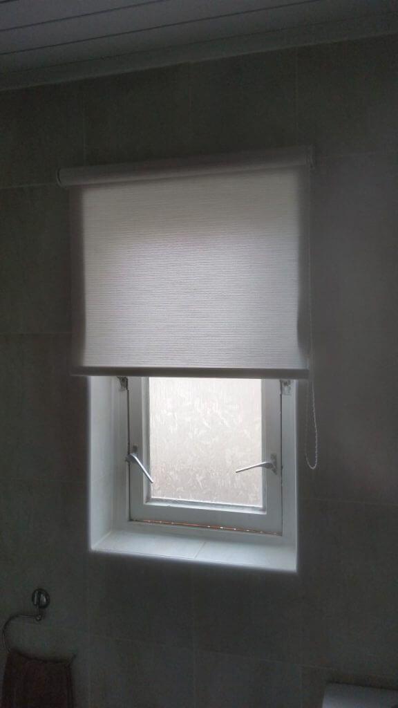 bathroom roller blinds in white Glasgow in Scotland