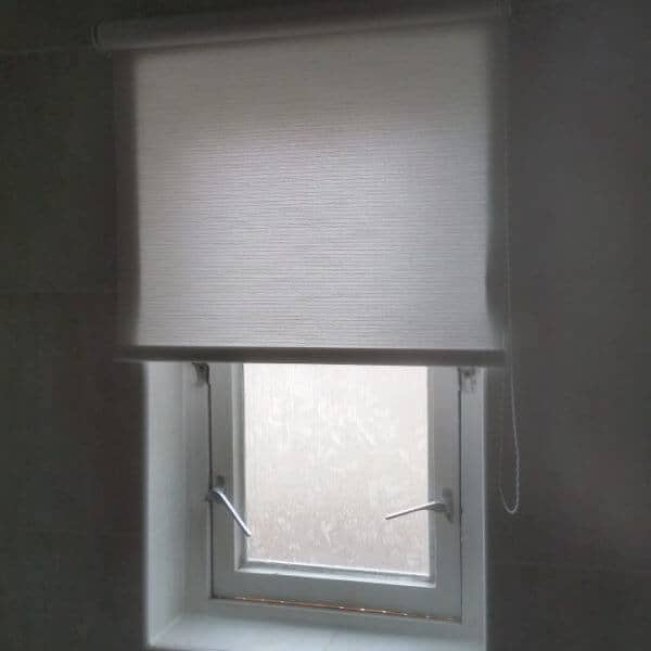 bathroom roller blinds in white Glasgow in Scotland