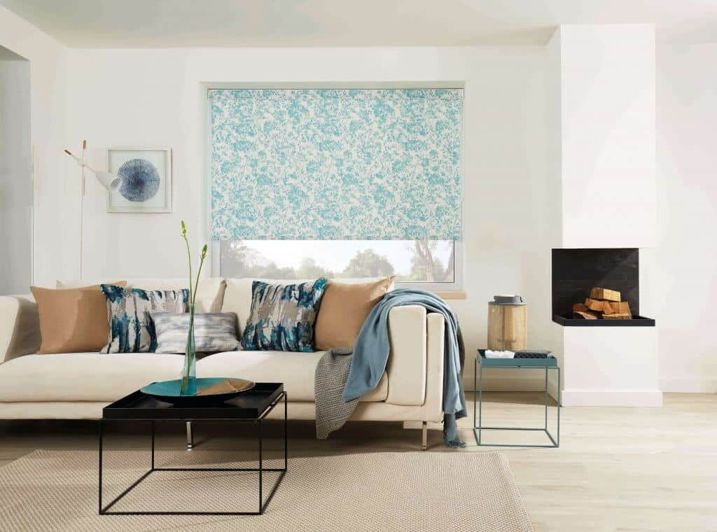 Roller Blinds Glasgow Blue and white