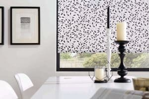 white with black pattern Roller Blinds Glasgow