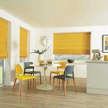 Roman Blinds Glasgow Edinburgh mustard yellow
