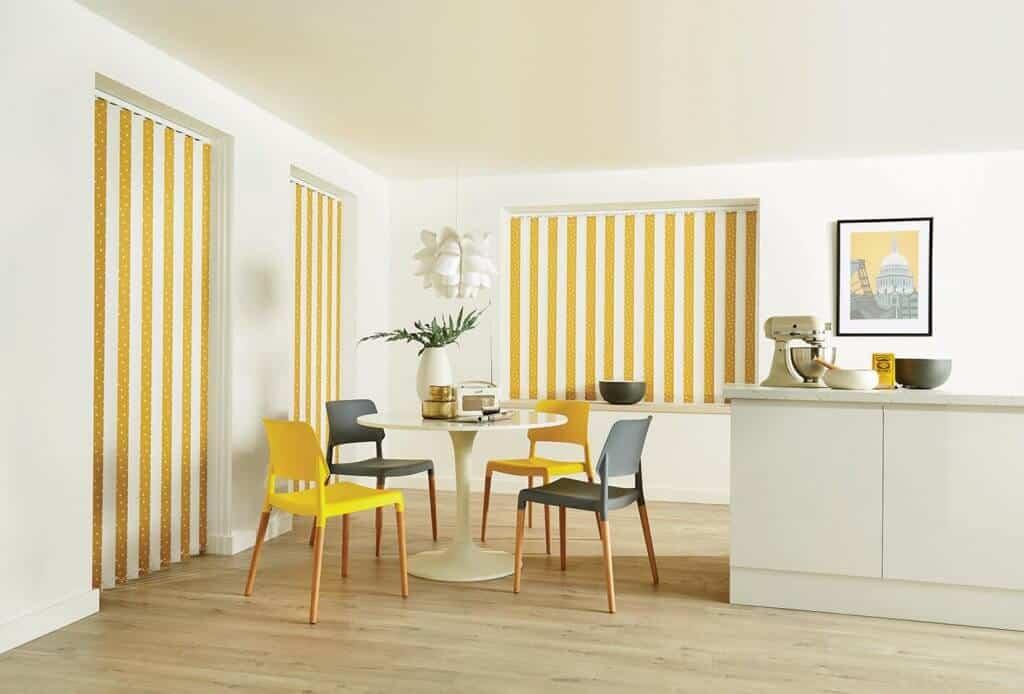 Vertical Blinds Glasgow Edinburgh Mustard Yellow and White