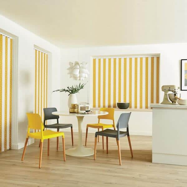 Vertical Blinds Glasgow Edinburgh Mustard Yellow and White