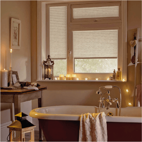 pleated blinds in relaxing bathroom setting