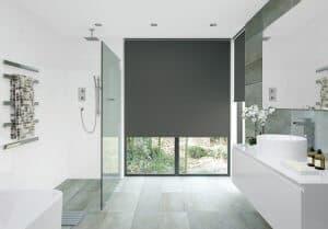 modern bathroom with roller blinds in dark grey