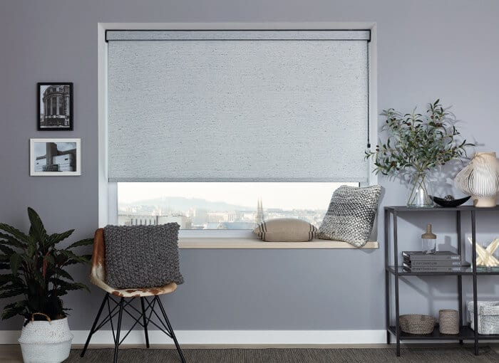 blackout blinds for in contemporary grey bedroom