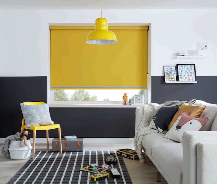 mustard yellow colourful style roller blinds in modern contemporary living room decor