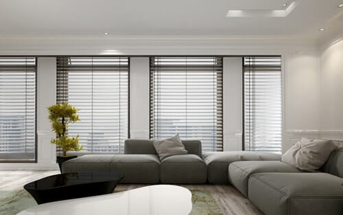 Living room with venetian blinds