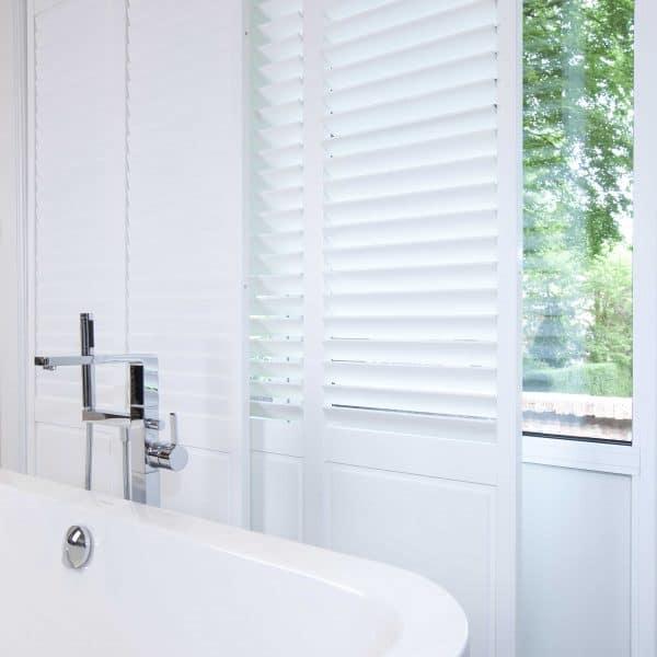 Bathroom sliding shutter blinds