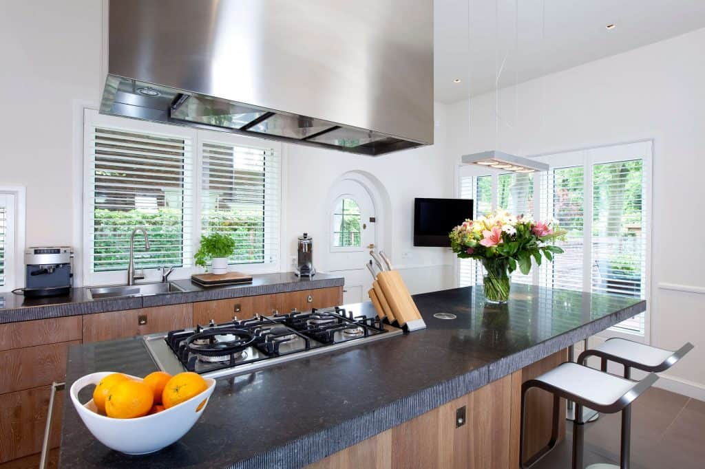 Kitchen plantation shutter blinds